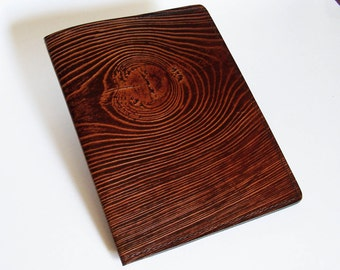 Leather Notebook Cover with Wood Grain Design - Fits 5x8 Inch Notepad (Small Legal Pad)