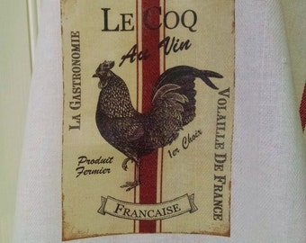 French Rooster Tea Towel, Rustic Farm Towel, Grainsack Tea Towel