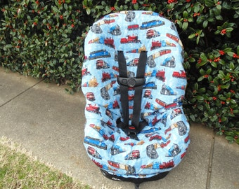 Trains print toddler car seat cover