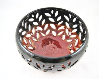 pottery fruit bowl, lace bowl , decorative art piece - In stock G