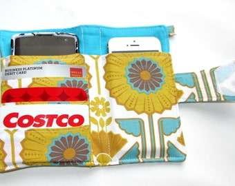 Cellphone, Iphone or Ipod Wallet, Cellphone pouch, Loyalty Card, Case, Business Card organizer, Gift Card Holder Sunflower- Ready to Ship
