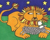 Lamb and Lion by David Venne mono deluxe needlepoint canvas