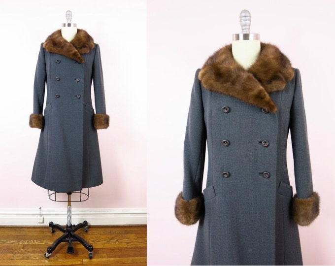 1960s Gray Wool & Mink Trimmed Double Breasted Coat M