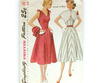 1950s Vintage Dress Pattern Sleeveless Dress and Bolero with Large Patch Pockets and Mandarin Collar / Simplicity 3490 / Size 14