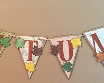 Copper Autumn Banner with Glittered Leaves Handmade Garland Fall Thanksgiving