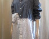 Lagenlook Blouse Tunic Cotton Boyfriend Shirt Upcycled Boho Blue White Stripe One Size Fits Plus