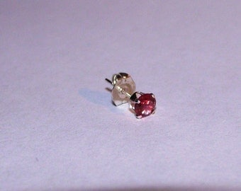 Single Stud Earring with Araku Garnet Gemstone in Sterling