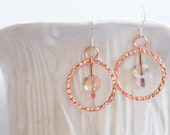 Copper hoop and Champagne Crystal Drop Earrings