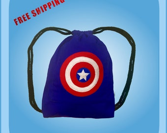 Captain America Drawstring Backpack Kids Tote