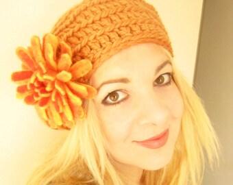 Pumpkin Crochet Berret Hat -Felt Flower Brooch-Hand Felted with Merino Wool in Burnt Orange