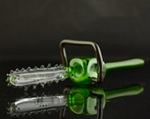 Chainsaw Large Glass Spoon Pipe Hand Blown Thick Wall in Clear & Emerald Green, Ready to Ship #357