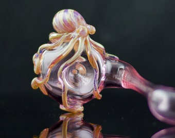 Octopus Large Glass Sherlock Pipe Hand Blown Thick Wall in Pink & Camo, Ready to Ship #430