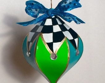 Christmas Tree Ornament // whimsical painted ornament // painted Christmas ornament // alice in wonderland ornament