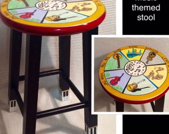 Whimsical Painted Furniture, Instrument Themed Painted Stool // Music Stool // Custom Painted Stool // Whimsical Furniture