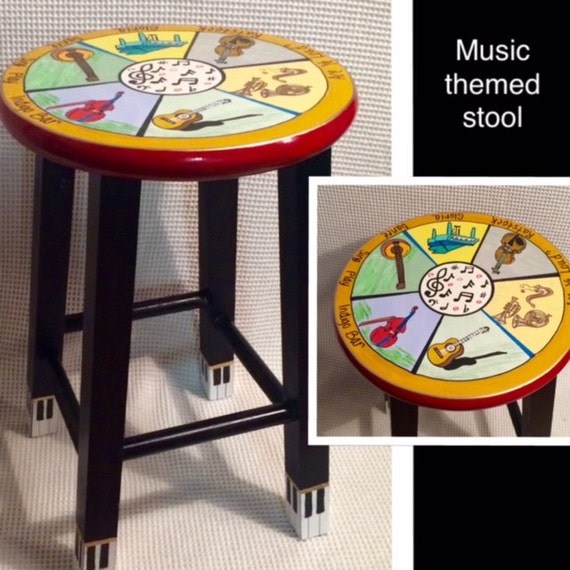 Whimsical painted furniture instrument themed painted stool for Music themed furniture