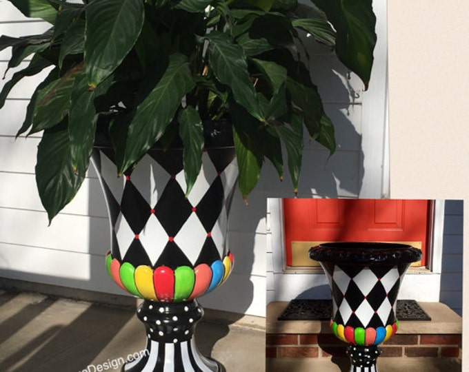 Painted urn planter // whimsical painted planter urn // harlequin urn
