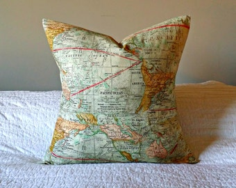 Map Pillow Cover - fits 20x20 Pillow Form
