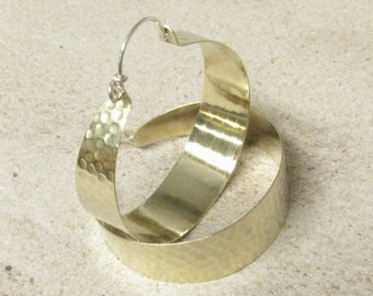 Extra Large Hoops, Statement Earrings, Brass Hoops With Sterling Silver, Big Hoop Earrings, Large Brass Earrings, Extra Large Earrings