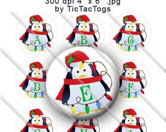 Christmas Lights Penguin Bottle Cap Images Alphabet Digi Digital You Print 1 Inch Circle Round - Instant Download - BC531