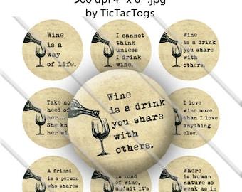 "Wine Sayings Quotes Bottle Cap Images 1"" Circles Digital Art Collage Set A-Z Digi 4X6 - Instant Download - BC541"