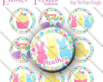 Editable Easter Treats Bunny Cupcake Jelly Beans Bottle Cap Images Digital Set 1 Inch Circle  JPEG - Instant Download - BC553