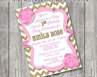 Pink Rose Gold Chevron 1st Birthday Invitations Invite You Print Personalized Polka dot Ribbon Customized 5x7 or 4x6