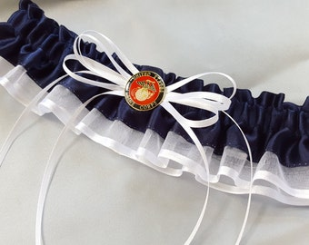 USA Marine Bride Wedding Garter White Red Navy Blue for Military Brides Bridal Garter
