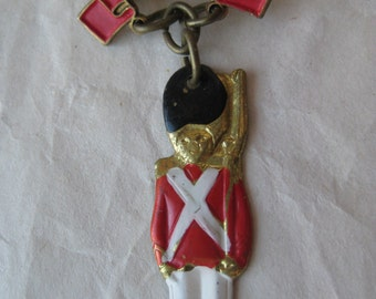 Soldier Danmark Brooch Red Black White Gold Vintage Pin Dangle