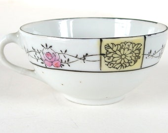 Vintage Teacup with Pink Roses and Yellow Flower