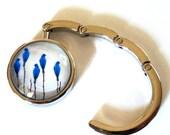 Portable Purse Hook Hanger, Birds in Blue White Brown,  Handmade, Gift for Her