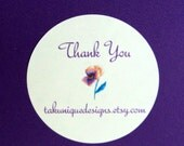"""24 Round Labels Stickers,  1 2/3"""", Customized with your Shop Name, Choice of Font Color and Picture, Packaging Supplies"""