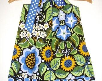 Dress girls pillowcase blue  Black flowers dots Wild Child Free Spirit Fabric  girls  dress 3,6,9,12,18  months,,2t,3t,4t,5t,6,7,8,10,12