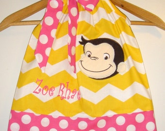 Curious George Dress pink dots  Monogrammed yellow Chevron applique pillowcase dress 3 6,9,12 18 month 2t, 3t,4t 5t,6,7,8,10
