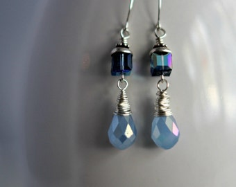Sterling Silver Earrings, Blue Crystal Drops, Wire Wrapped Dangles, Swarovski Crystal,  Wedding