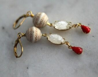 Ivory White Earrings, Red Teardrop Dangles, Vintage Crystal , Gold Leaf, Feminine, Elegant, Retro Earrings