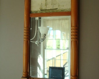 Old wood framed mirror with nautical framed print- solid, beautiful, ready to hang