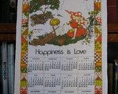 1977 Calendar Towel, Happiness Is Love, Vintage Kitchen Towel, Vintage Linen, Fall Colors, Vintage Kitchen Decor, 1977 Calendar, Orange