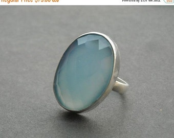 ON SALE Blue chalcedony ring - Oval ring - Gemstone ring - Faceted ring - Bezel ring - Handmade sterling silver - Gift for her