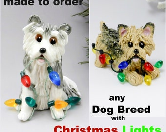 Dog Breed Christmas Ornament Figurine with Lights Made to Order Porcelain