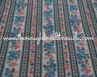 Pretty Floral Stripe - Vintage Fabric 60s 70s New Old Stock Stunning Blue Floral