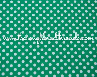 Green and White Polka Dots- Vintage Fabric Whimsical Novelty New Old Stock 70s Adorable