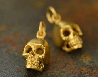 Skull Necklace - 24K Gold Plated Sterling Silver Vermeil Charm - 14K Gold Filled Delicate Chain - Insurance Included