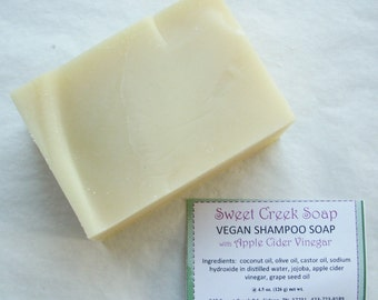 Vegan Herbal Shampoo Soap, Apple Cider Vinegar, Unscented