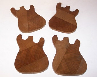 OOAK Guitar Coaster Set (Set of 4) Handcrafted from Ash and Cherry End Grain Hardwoods