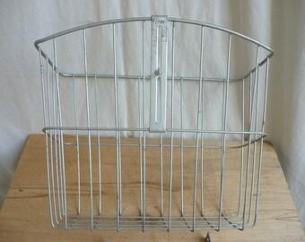 Vintage Metal Bicycle Basket, 2 available, Wire bike basket, wire basket, tall metal basket, tall wire basket