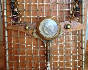 Vintage Brass Compass Necklace