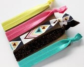 Bohemian Aztec Set - 5 Glitter and Printed Elastic Hair Ties in Yellow, Teal, Pink and Brown by Mandizzle - PREORDER