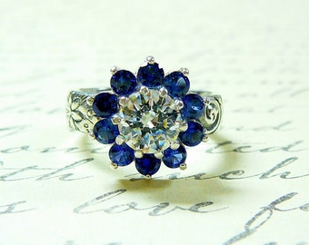 Sun Flower Ring - Sterling Silver Vintage Inspired Blue Sapphire and Swarovski CZ Ring