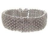 Vintage Rhinestone Bracelet, Wide Chevron Link, Unsigned Ciner, 1930 Fine Vintage Statement Wedding Jewelry