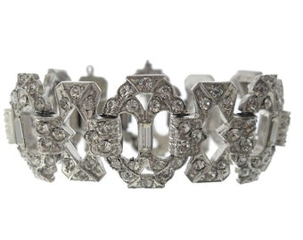 Antique Art Deco Bracelet, Wide Rhinestone Cuff, Original 1920s Art Deco Jewelry, Crystal Wedding Jewelry
